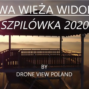 Szpilówka observation tower from the bird's eye view. Drone footage made during a visit to Iwkowa.